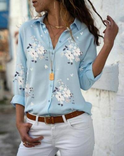 Fashion V-Neck Long Sleeve Casual Floral Printed Shirts Blouses