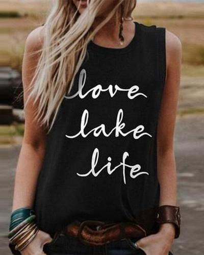Black Sleeveless Letter Crew Neck Tank Tops Shirts