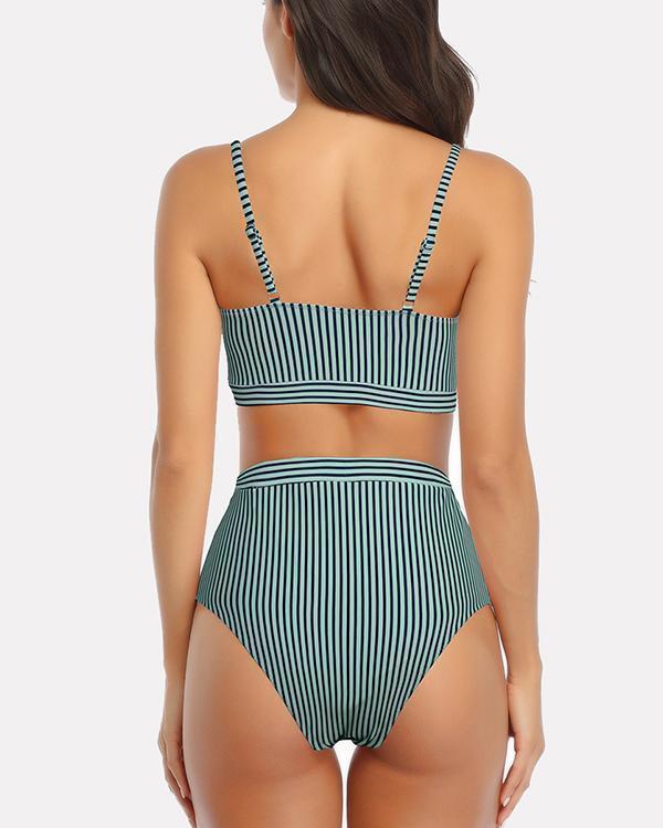 Striped Split Swimsuit Lace Up Sexy Bikini