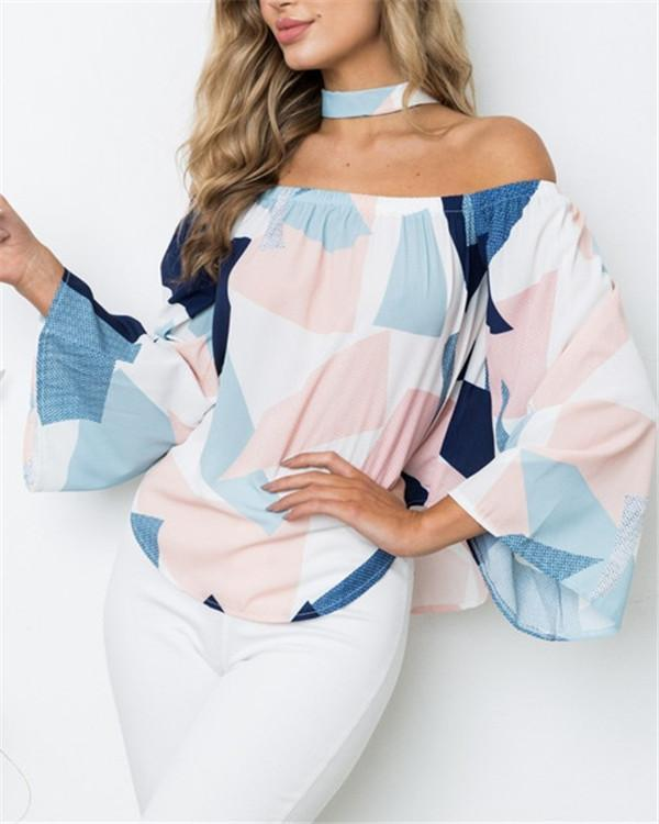 Women Printed Off Shoulder Casual Long Sleeved Blouses Tops