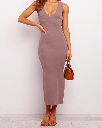 Lace Up Solid Color Vest Dress
