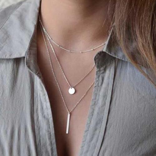 Jewelry-Chic Copper Bead Chain Sequins Multi-layer Necklace