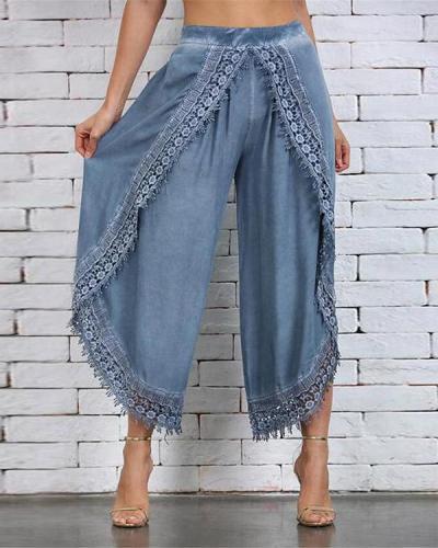 Lace Paneled Loose Cotton Pants