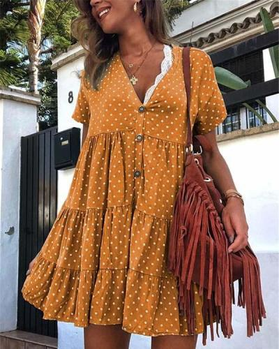 Retro Polka Dot Printed V Collar Wrinkle Loose Dress