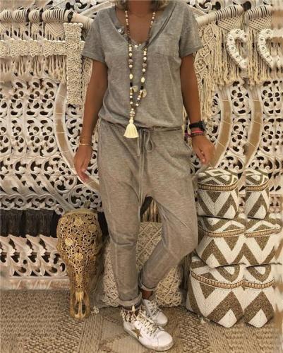 Cotton-blend Casual Crew Neck Solid Plus Size Jumpsuit