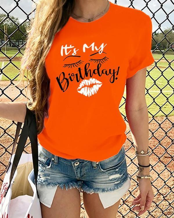 Letter Graphic Print Short Sleeves Casual T-shirt
