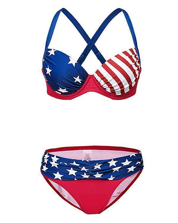 Plus Size Flag Print Bikini Set