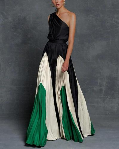 Off Shoulder Color Block Elegant Maxi Dresses