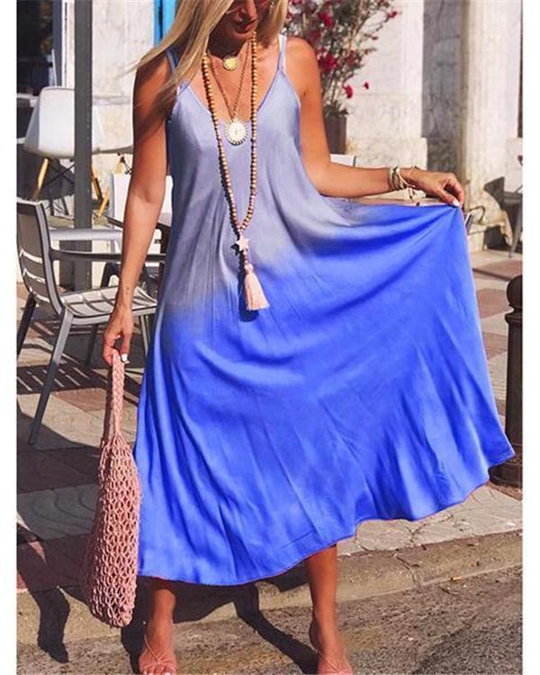 Women Bohemian Casual V Neck Sleeveless Maxi Dresses