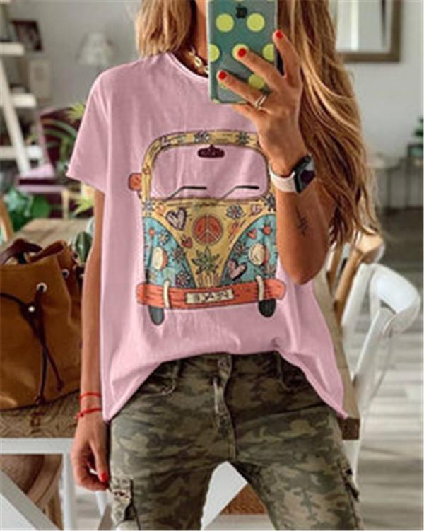 Round Neck Printed Plus Size Summer Women Holiday Blouse