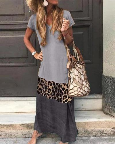 Crew Neck Women Summer Short Sleeve Casual Maxi Dresses