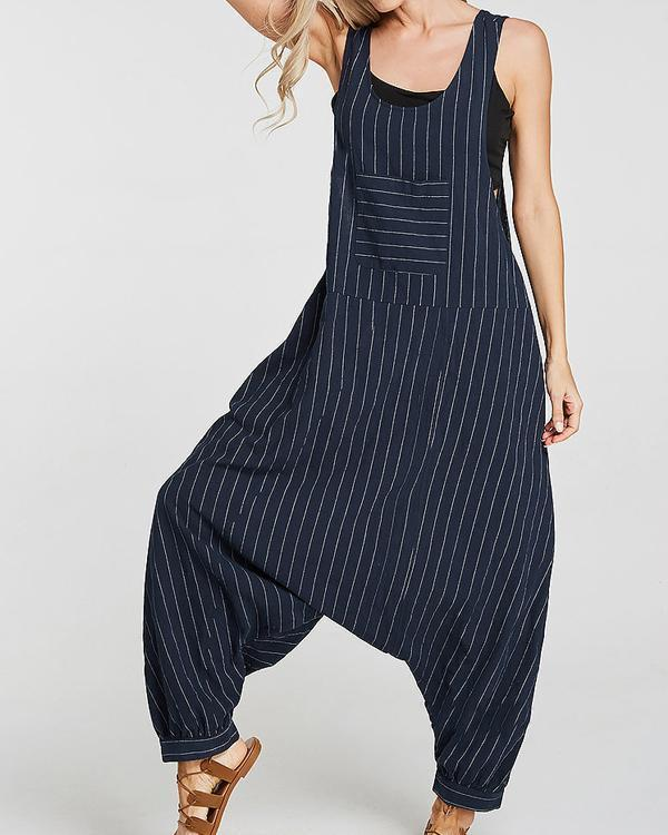 Cotton Sleeveless Casual Striped Suspender Jumpsuit
