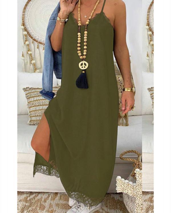 Lace Splicing Slit Spaghetti Srap Maxi Dress without Necklace - Black