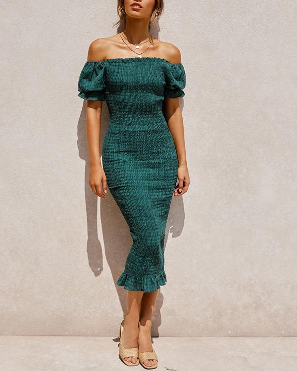 Off Shoulder Slim Fit Pleated Puff Sleeve Bodycon Dress