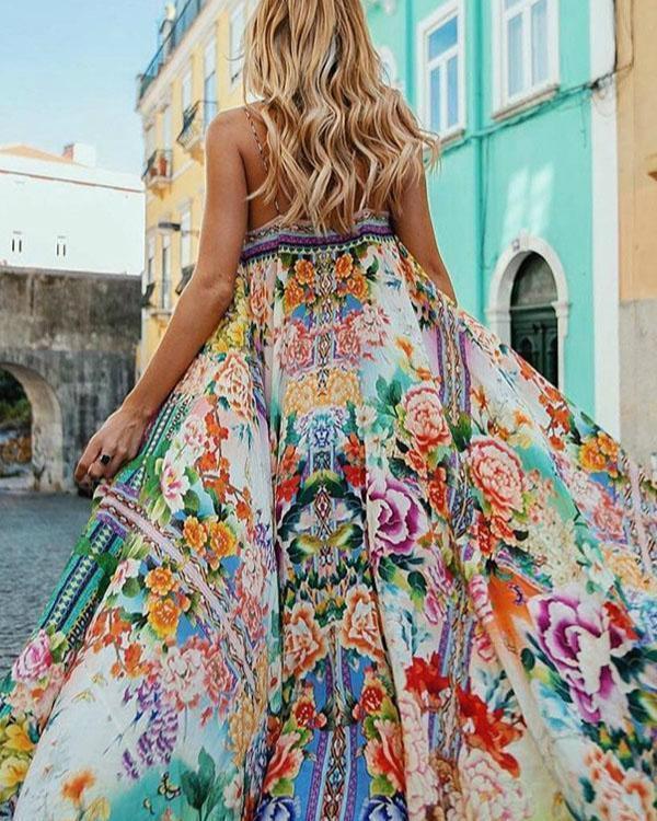 Floral Spaghetti-neck Maxi Dress
