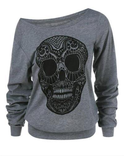 Halloween Skull Print Skew Collar Plus Size Sweatshirt