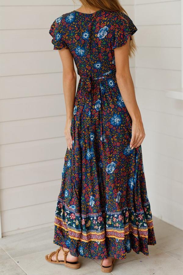Ethnic Print Ruffled Sleeve Split Flower Wrap Belt Dress
