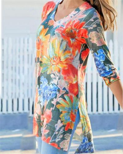 Floral Women Summer V Neck Holiday Daily Blouse