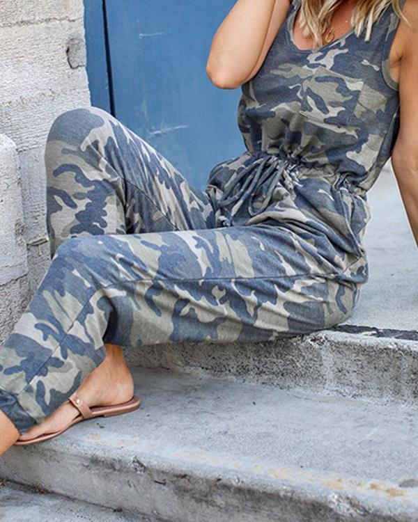 Women Camouflage Green Tie Waist Casual Jumpsuits