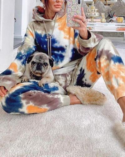 Casual Sports Tie-dyed Sweater Trousers Two-piece