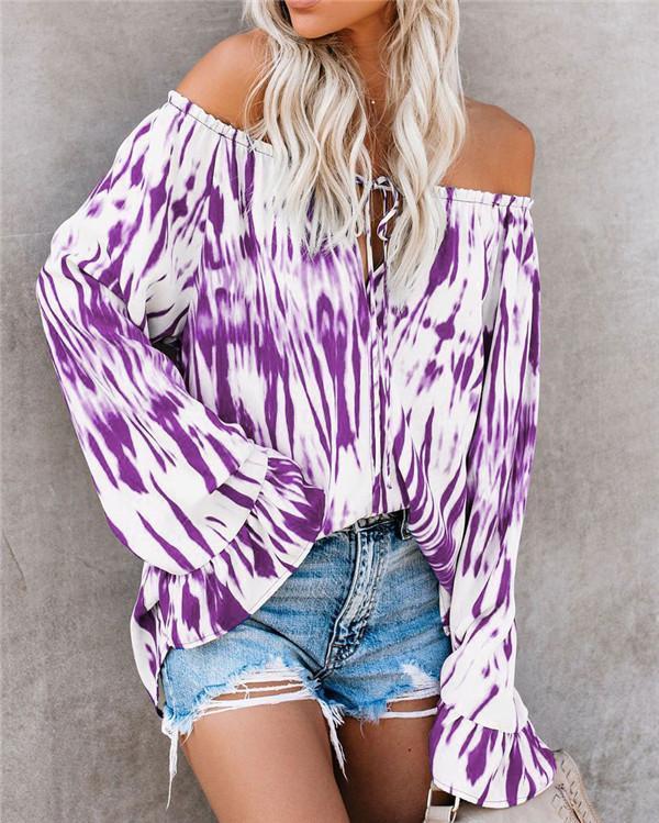 Off Shoulder Plus Size Vacation Color Shirts Tops
