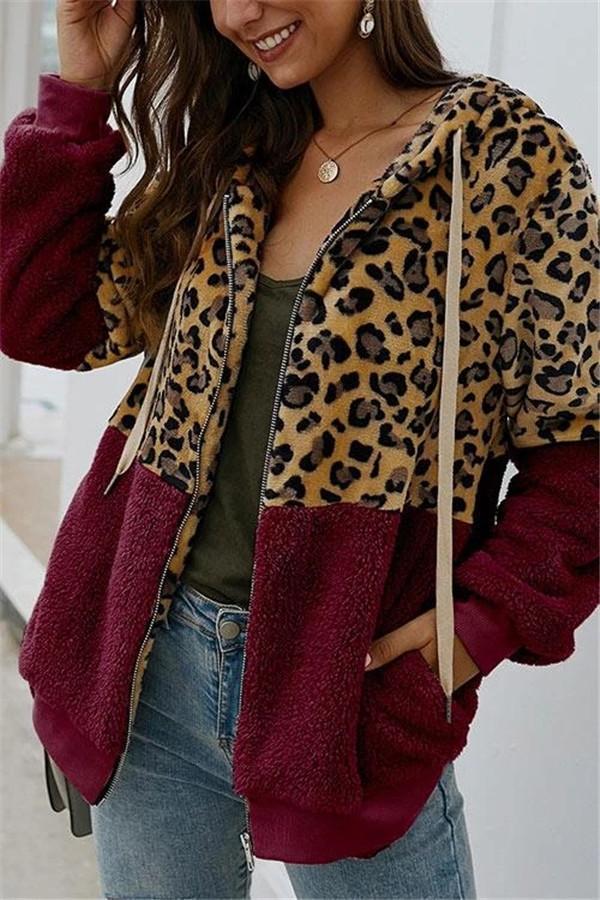 Leopard Zip-Up Patchwork Hooded Coat(5 Colors)