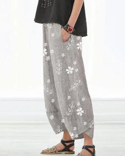 Fashion Floral Printed High Waist Casual Wide Leg Pants