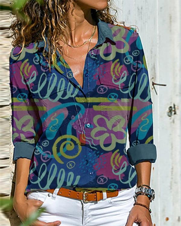 Deep Blue Holiday Printed Shirt Collar Cotton-Blend Shirts Tops