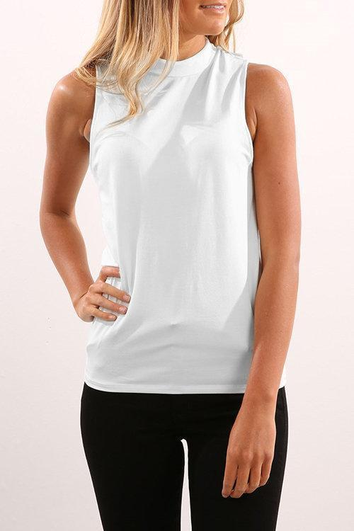 Chiffon Sleeveless High Neck Cami Tops