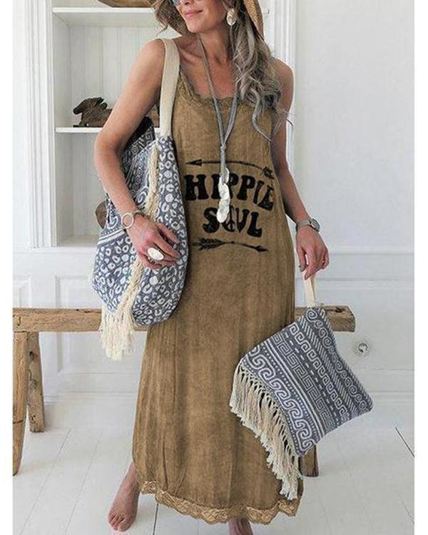 Women Casual Lace Edge Printed Sleeveless Dress