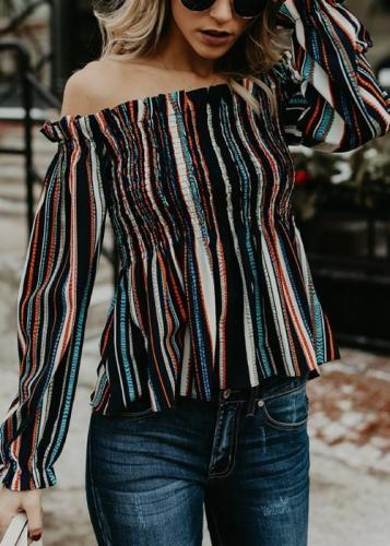 Fashion Casual Long Sleeve Off Shoulder Striped Blouse