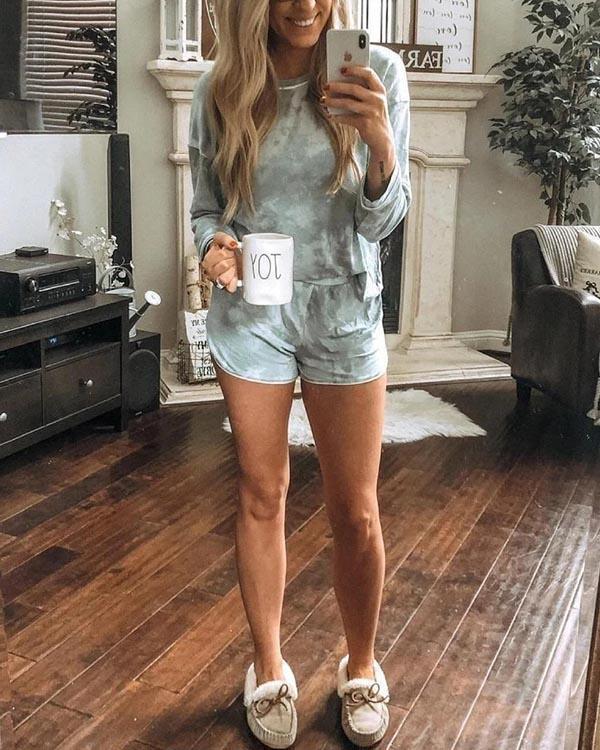 Elastic Tie Dye Crew Neckline Top and Shorts Loungewear