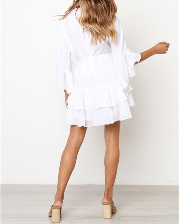 Flare Sleeves Flounced Linen Dress