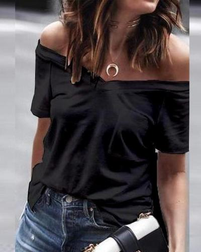 Casual Pocket Shoulder Short Sleeve T-Shirt Top