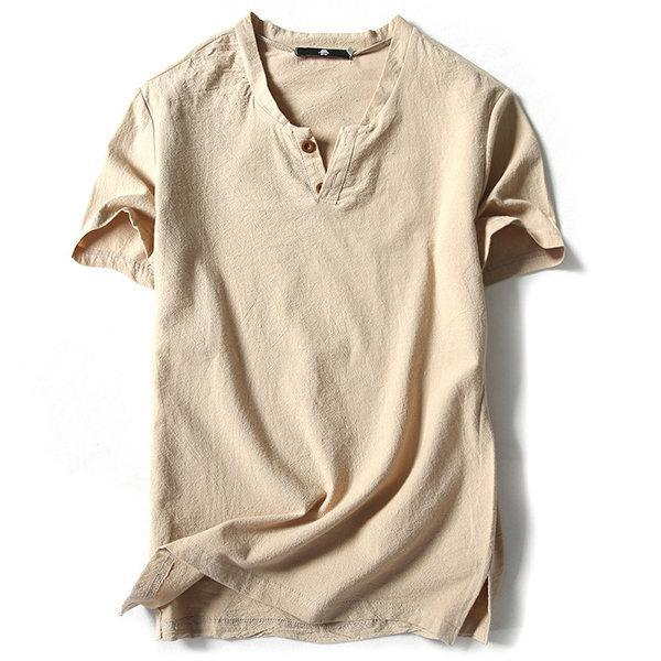Cotton Linen Solid Color Short Sleeve Casual T Shirts
