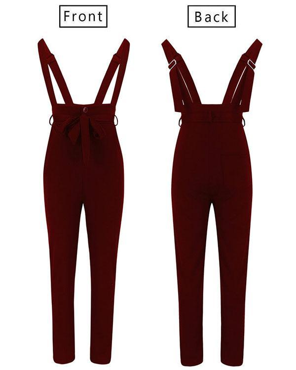 Fashion Lace-up Waistbelt Suspender Pants Jumpsuit