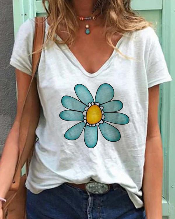 Floral Casual V-Neckline Short Sleeve Blouses