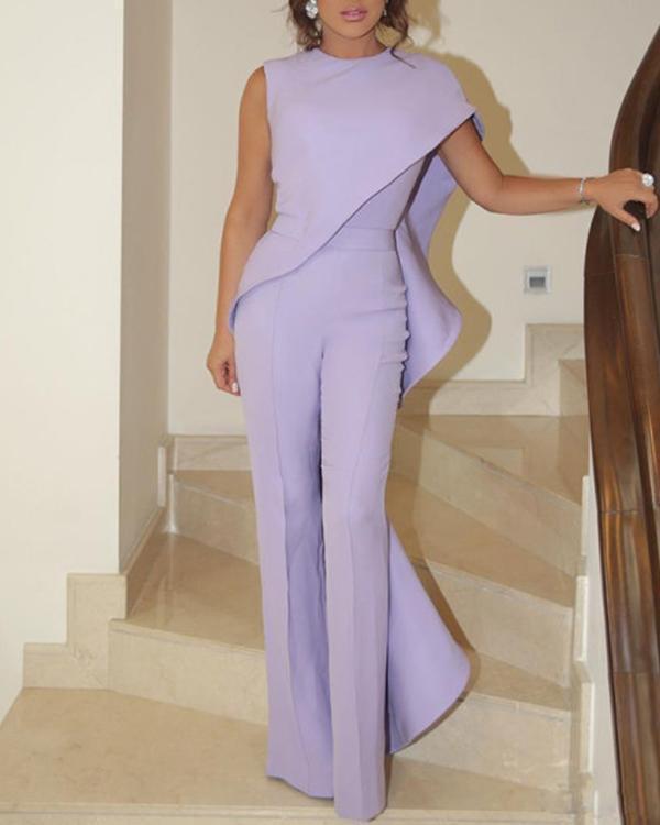 Elegant Single Shoulder Out Ruffled Irregular Design Jumpsuit