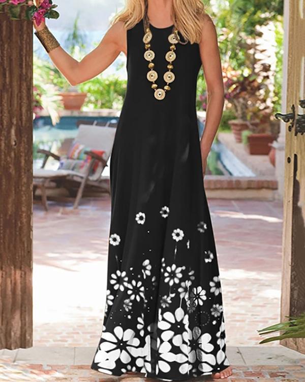 Casual Print Round Sleeveless Maxi Dress