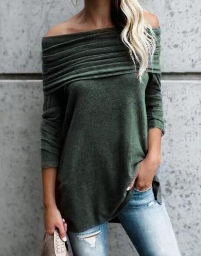 Cotton Long Sleeve Ruched Off Shoulder T-Shirt