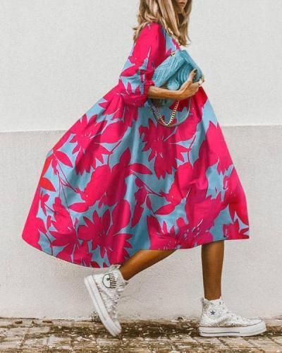 Casual Print Midi Dress