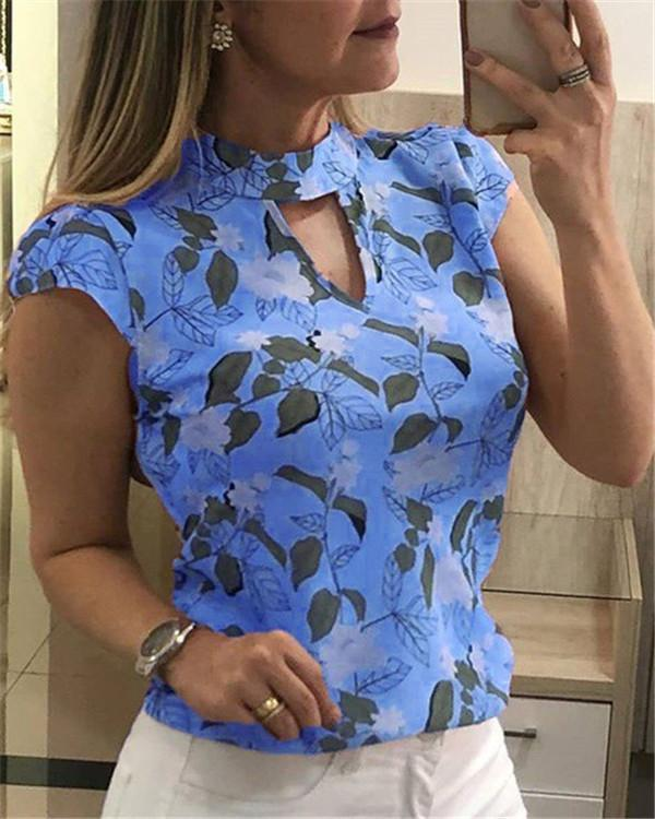 Floral Printed Short Sleeve Blouse Tops