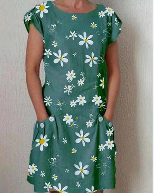 Round Neck Short Sleeve Daisy Printed Casual Dress