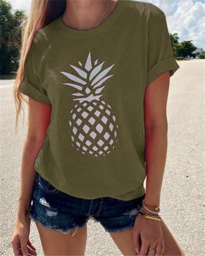 Round Neck Pineapple Printed Women Summer Casual Tops
