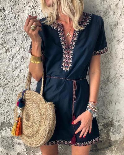 Fashion V Collar Printed Short Sleeves Mini Dress