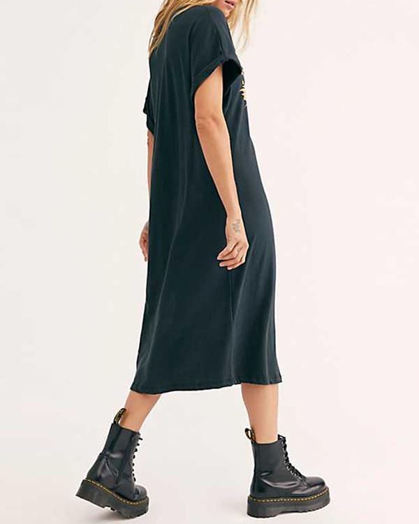 Cotton Vintage Street Shot Slit T-Shirt Midi Dress