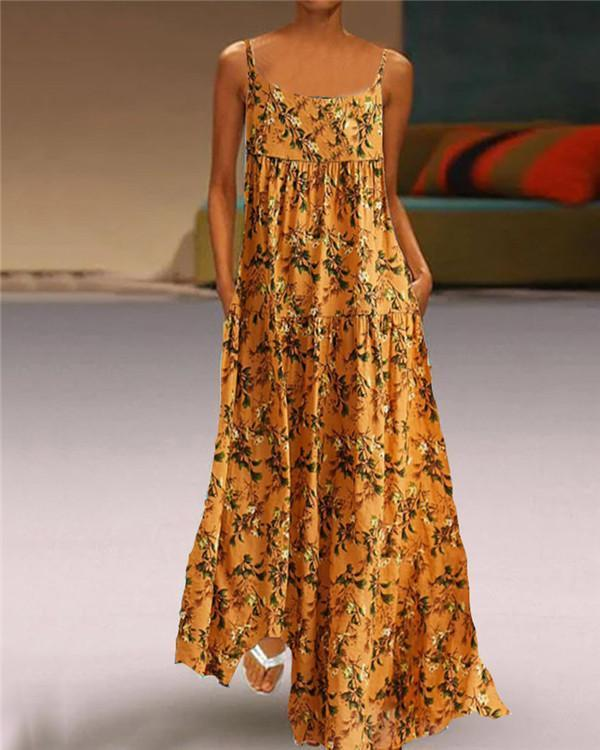 Bohemian Gallus Print Patch Sleeveless Maxi Summer Dress