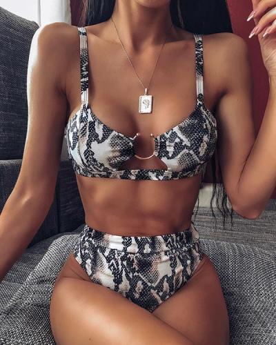 Ring Design High Waist Bikini Set
