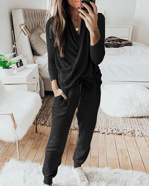 Casual Plain Crossed Long Sleeve Lounge Set