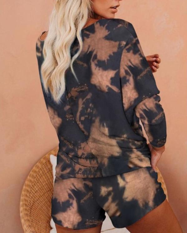 Flame Print Long Sleeve Top & Shorts Set